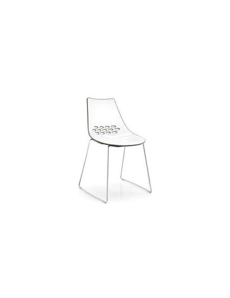 Chaise en métal à piètement luge et coque bicolore Jam CB1030