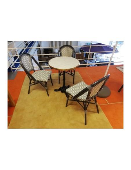 Déstockage Table rétro Demoiselle + 3 chaises de jardin Demoiselle