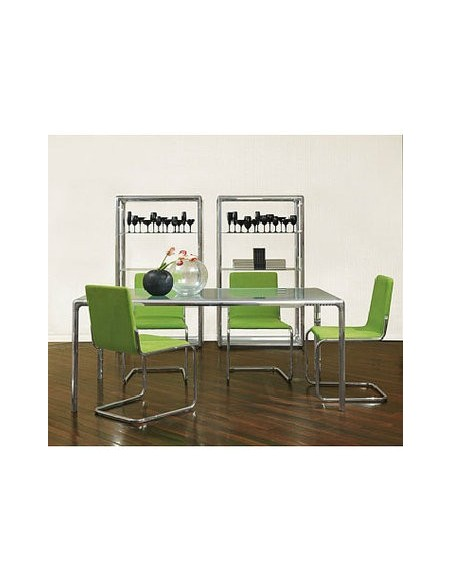 Table rectangulaire métal brillant plateau verre Flu 160x90 Dexo