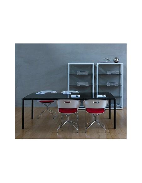 Table rectangulaire noire plateau verre Flu 160x90 Dexo