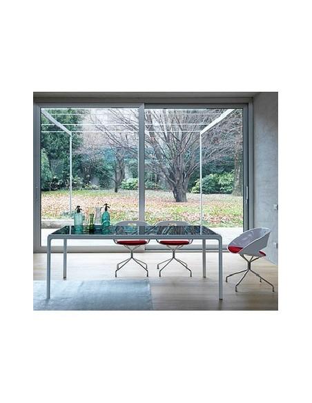 Table rectangulaire blanche plateau verre Flu 220x100 Dexo