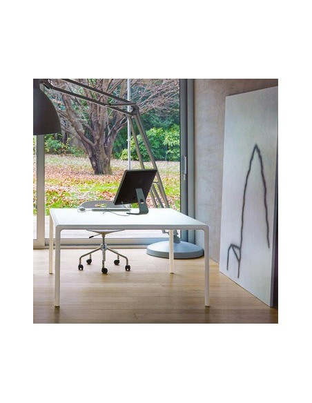 Table blanche carrée plateau verre Flu 80x80 Dexo
