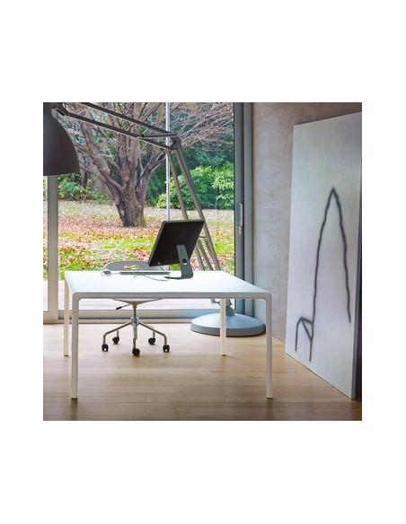 Table blanche carrée plateau verre Flu 100x100 Dexo