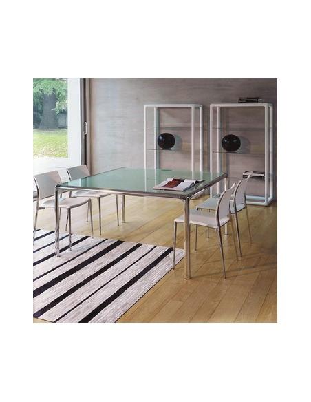 Table carrée plateau verre Flu 120x120 Dexo