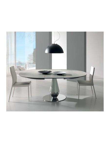 Table de repas extensible en céramique Perla diamètre 125+50cm