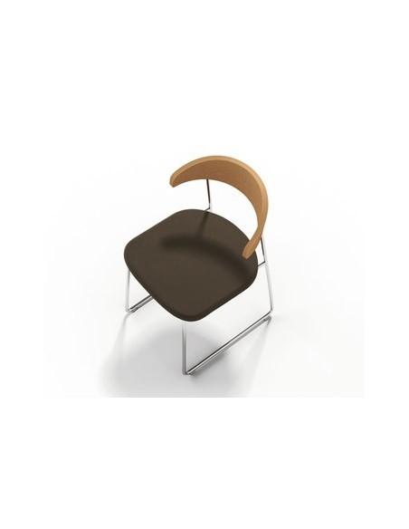 Chaise Hugh hêtre et marron