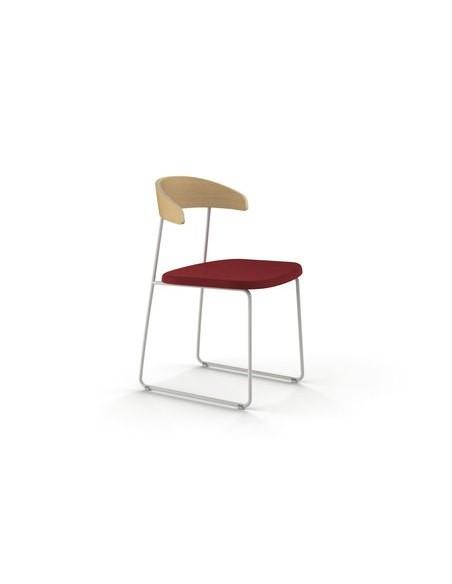 Chaise Hugh hêtre et rouge