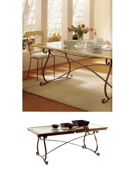 Table rectangulaire biarritz plateau verre cadre bois, Alki