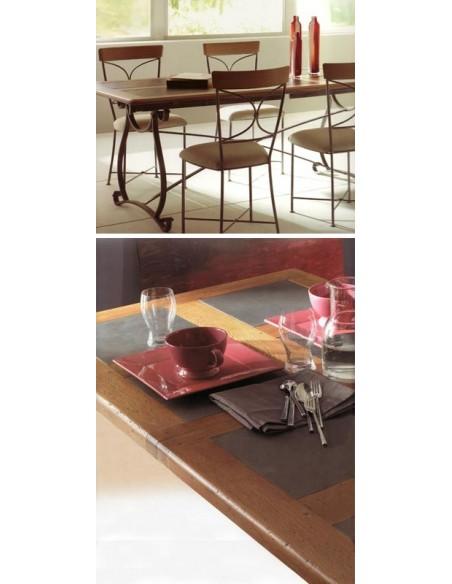 Table rectangulaire biarritz plateau chêne et ardoise, Alki