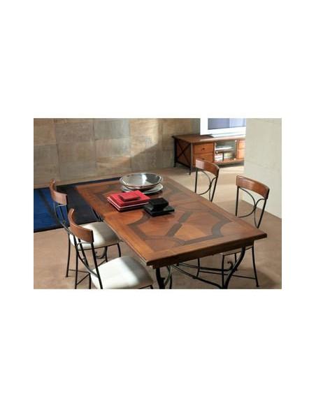 Table rectangulaire Biarritz plateau merisier noyer pied fer forgé M