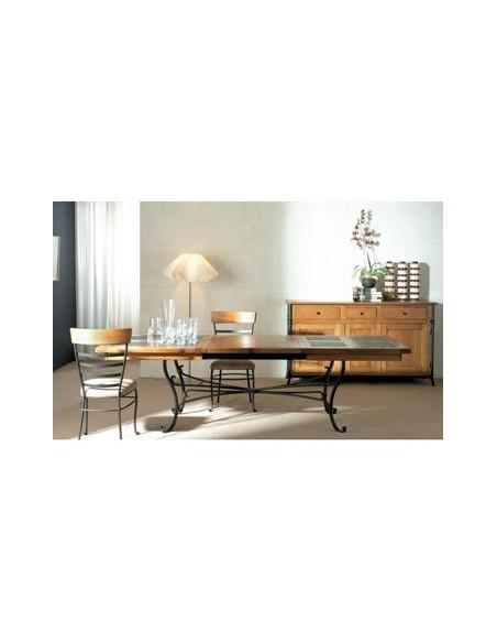 Table rectangulaire Biarritz plateau chêne et ardoise pied fer forgé M