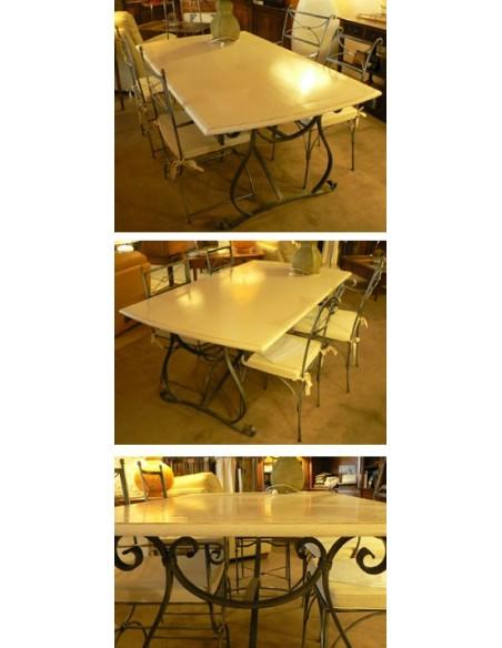 Table fer forge plateau bois