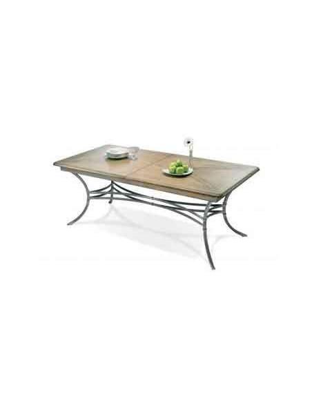 Table rectangulaire Biarritz plateau chêne pied fer forgé R