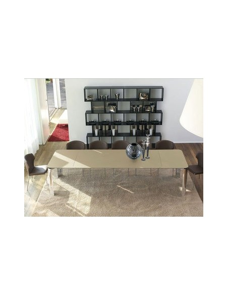 Table Arthur chrome et verre