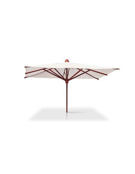 Parasol Acajou 400 x 300 cm, structure acajou, habillage toile teint masse