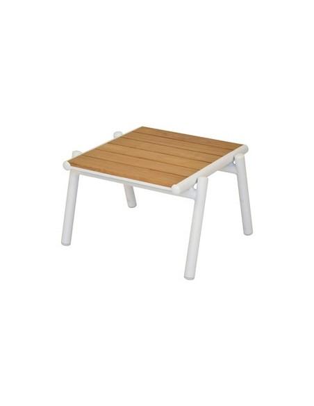 Table basse 54 x 48 cm Pilotis, structure blanc, habillage plateau teck naturel