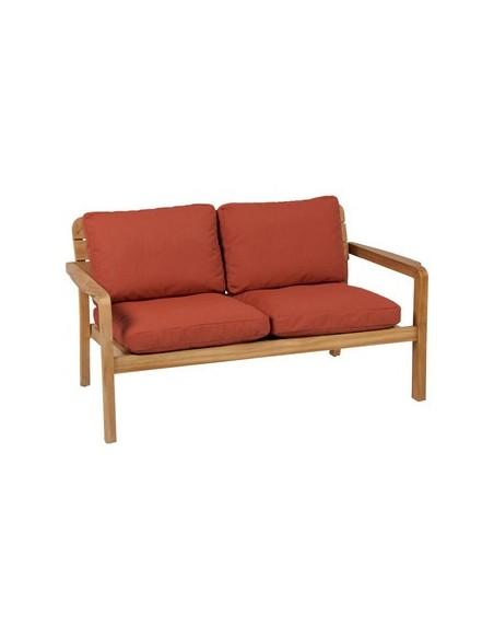Sofa 2 places Lodge, structure teck naturel, habillage toile Batyline Eden