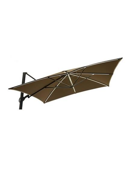 Parasol Easy Shadow 300 x 300 cm avec LED, structure anthracite, habillage toile teint masse