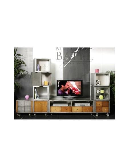 Composition meuble télé métal brossé et bois