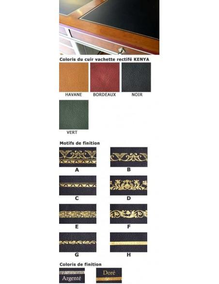 Cuir de bureau RECTANGLE, finition sur mesure vachette rectifié KENYA cuir à grain gros et dorure
