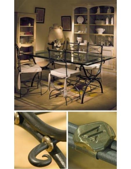 Table rectangulaire delhi, plateau verre, bois ou travertin, Patines Anciennes