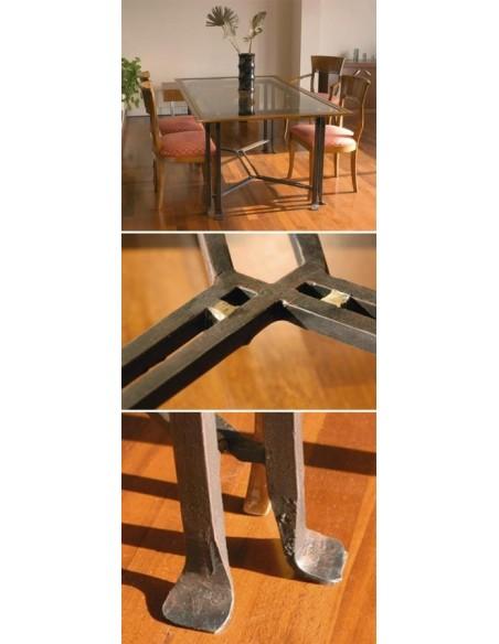 Table lotus plateau verre, bois ou travertin, Patines Anciennes