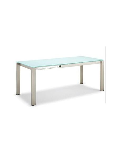 Table à rallonges en métal et en verre Baron