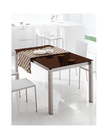 Table baron Connubia plateau verre grège, pieds métal satiné