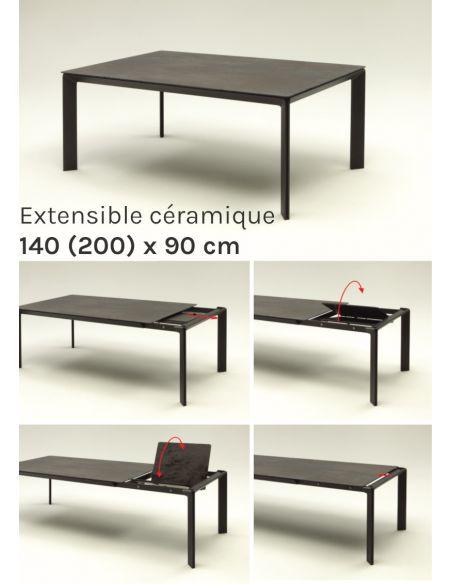 Table de repas extensible en céramique Class - 140 (200) x 90 cm