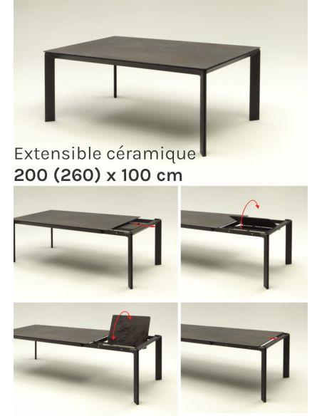 Table de repas extensible en céramique Class - 200 (260) x 100 cm