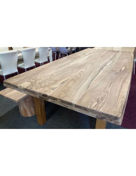 Plateau de table vieilli vintage en noyer massif, épaisseur 70 mm